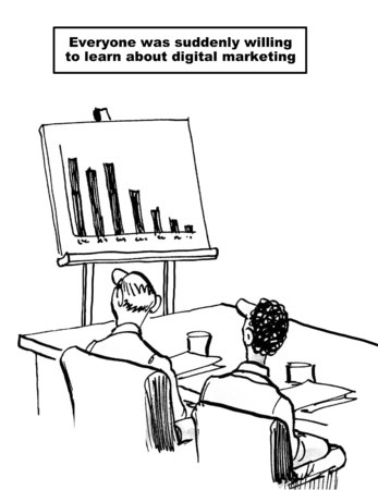 willing: Cartoon of business meeting and chart with declining sales, suddenly everyone was willing to learn about digital marketing.