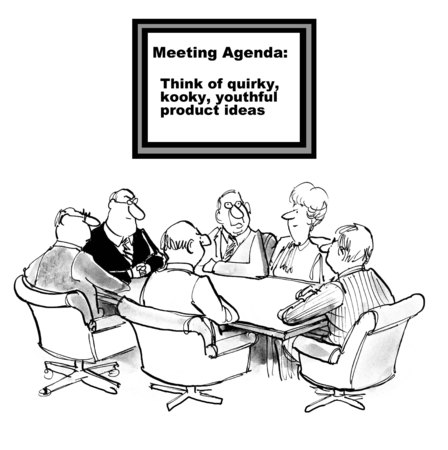 youthful: Cartoon of business team in innovation session: think of quirky, kooky, youthful new product ideas. Stock Photo