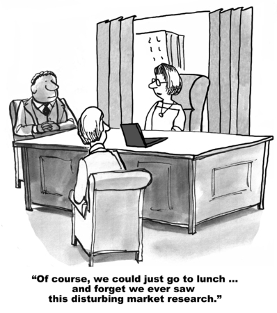 Cartoon of business team looking at disturbing market research results, we could go to lunch and forget them.
