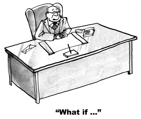Cartoon of businessman with curious mind pondering what if. Stok Fotoğraf