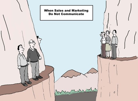 happens: Cartoon of two groups of business people on two different cliffs, what happens when sales and marketing do not communicate.