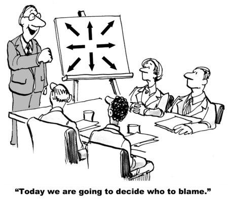 Cartoon van de bedrijfsleider van grafiek met meerdere pijlen, vandaag gaan we om te beslissen wie de schuld. Stockfoto