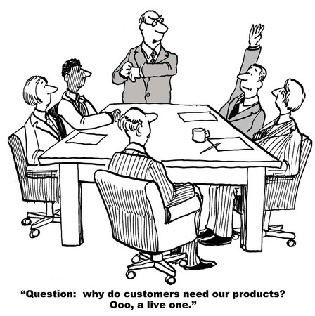 humourous: Cartoon of business leader asking team what customers need their products for. Stock Photo