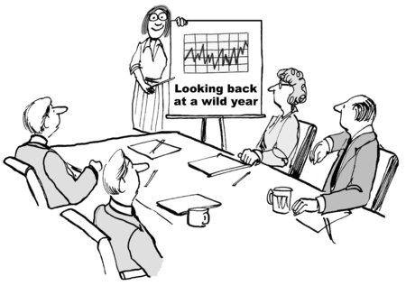 Cartoon of businesswoman showing team a chart of wildly fluctuating financial results. Imagens