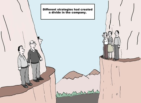 Cartoon of two groups of business people on two cliff ledges, different strategies had created a divide in the company.