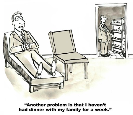 balance life: Cartoon of businessman in therapy session, as therapist looks in refrigerator patient says another problem is he has not had dinner with his family. Stock Photo