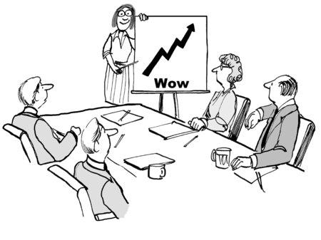판매 증대 및 단어 '와우'를 보여주는 차트와 사업가 팀의 만화. 스톡 콘텐츠