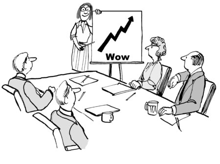Cartoon of businesswoman and team with chart showing increasing sales and the word \'wow\'. Archivio Fotografico
