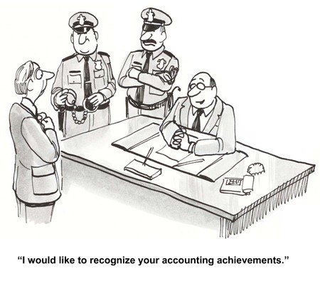Cartoon of business boss with police, he tells accountant he would like to recognize his accounting achievements.