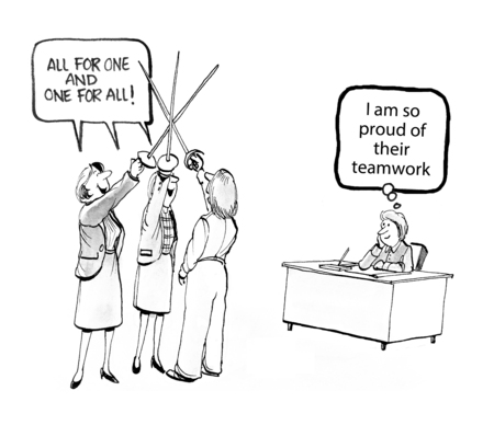 one on one meeting: Cartoon of businesswoman who are a tight, supportive team.