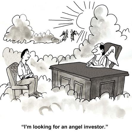 天国で彼はエンジェル投資家を探してと言って天使に話すビジネスマンの漫画。 写真素材