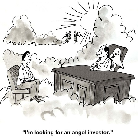 Cartoon of businessman talking to angel in heaven and saying he is looking for an angel investor.