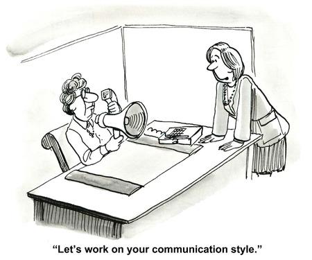 성급한 의사 소통의 만화, 사업 동료는 말한다, 우리는 귀하의 통신 스타일에 대해 이야기하자. 스톡 콘텐츠