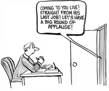 retained: Caricatura de hombre de negocios con una gran introducción a su entrevista de trabajo. Foto de archivo