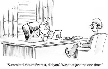 직업 인터뷰에서 사업가의 만화, 그는 에베레스트 산 꼭대기에 앉아있다. 스톡 콘텐츠