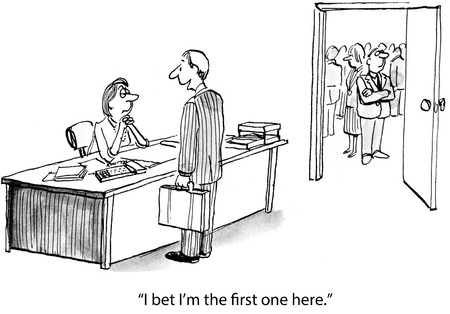 staffing: Cartoon of full meeting room and arriving businessman says I bet I\\ Stock Photo