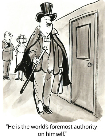 Caricatura de hombre de negocios en el sombrero de copa con la caña, que es la autoridad más destacada en sí mismo.