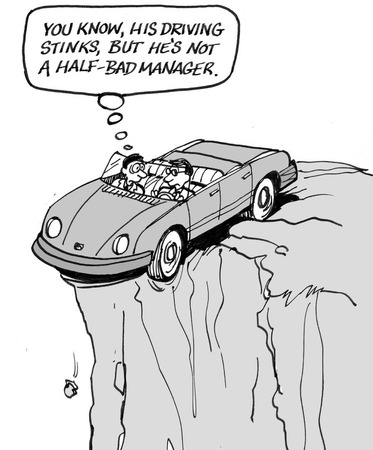 Cartoon of car about to go over cliff, he is a bad driver but a good manager. Stock Photo