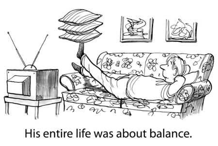 Cartoon of man balancing pillows on his foot, his life was about balance.