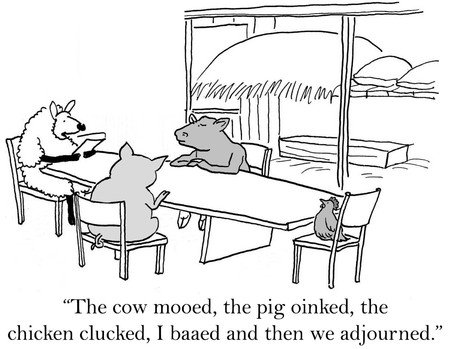 lady cow: Cartoon of meeting using Roberts Rules of Order