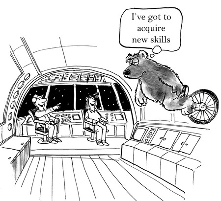 acquire: Cartoon of bear riding unicycle and thinking he has to acquire new skills.
