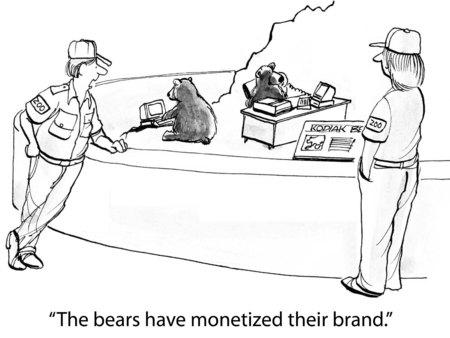 posicionamiento de marca: Caricatura de empleado del zoológico dijo que el oso ha monetizado su marca.