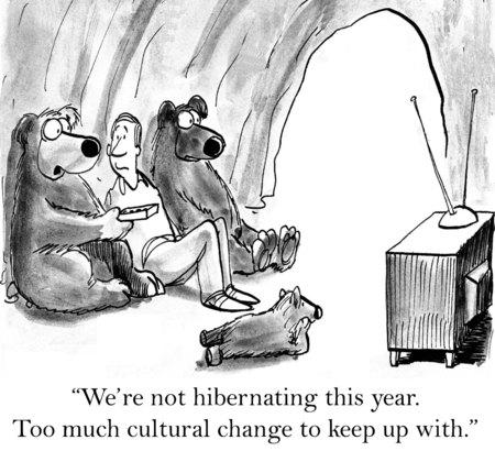 la société: Cartoon d'ours à regarder la télévision, nous ne sommes pas en hibernation cette année, trop de changement culturel à suivre.