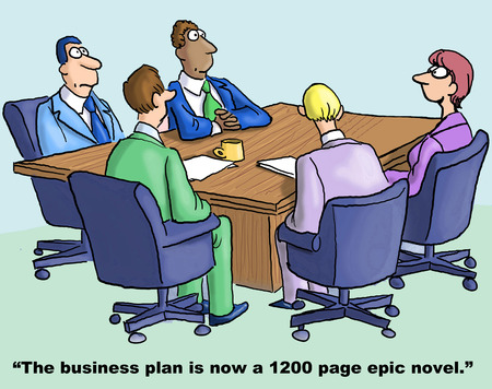 Cartoon of businesswoman saying to team the business plan is now a 1200 page epic novel. Stockfoto