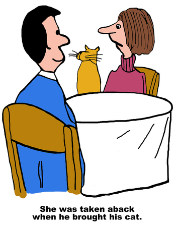 she: Cartoon of man and woman on date, she was taken aback when he brought his cat.
