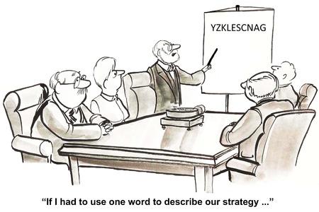 직원들에게 회사 전략을 말하는 비즈니스 리더의 만화는 혼란 스럽다. 스톡 콘텐츠