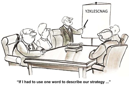 Cartoon of business leader telling staff the company strategy is confusing. Stockfoto