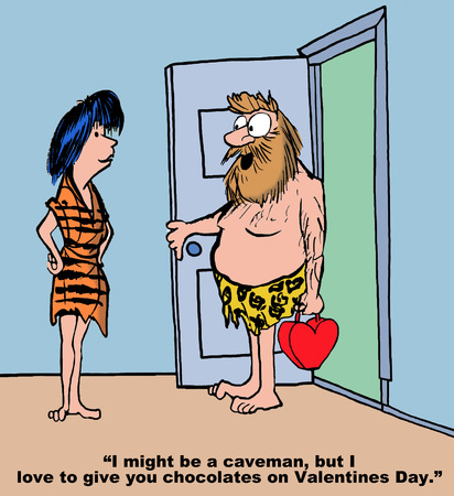 Cartoon of caveman, he loves to give his wife chocolates on Valentine\\\\
