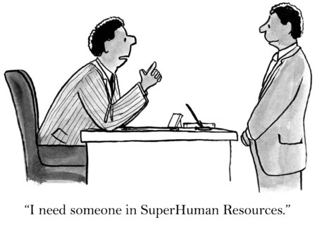 staffing: Cartoon of two african-american businessmen, I need someone in SuperHuman Resources. Stock Photo