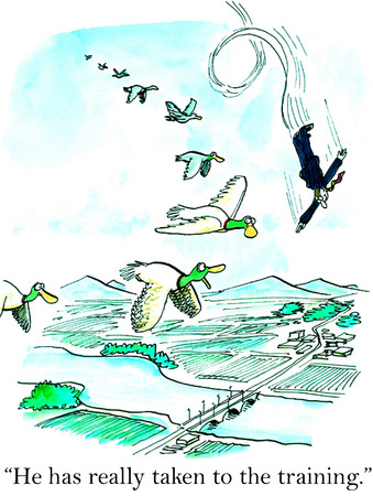 Cartoon of businessman flying and doing twirls, he has really taken to the training.