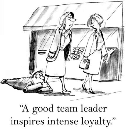 camaraderie: Cartoon of businessman hanging on to businesswoman\\\\\\\\