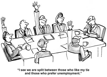 arbitrario: Caricatura de jefe de negocios, veo estamos divididos entre aquellos que les gusta la corbata y los que prefieren el desempleo.