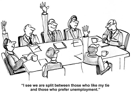 Cartoon of business boss, I see we are divided between those who like my tie and those who prefer unemployment. Stockfoto