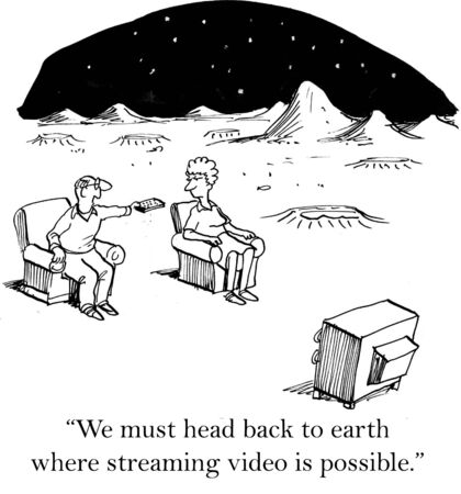 woman watching tv: Cartoon of couple living on Mars, they need to move back to Earth where streaming video is possible.