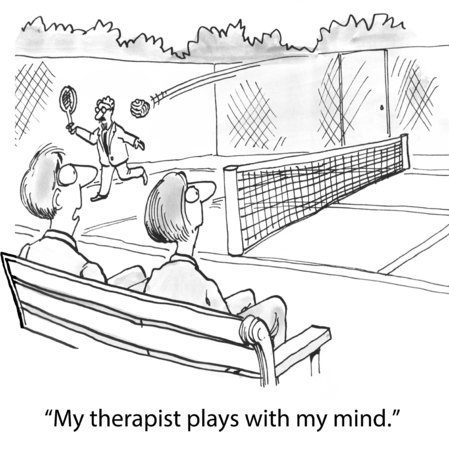 terapia psicologica: Historieta del hombre jugando al tenis, mi terapeuta juega con mi mente. Foto de archivo