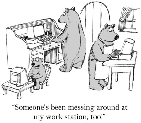funny cartoon: Cartoon of three bears, someone has been messing with my work station, too. Stock Photo