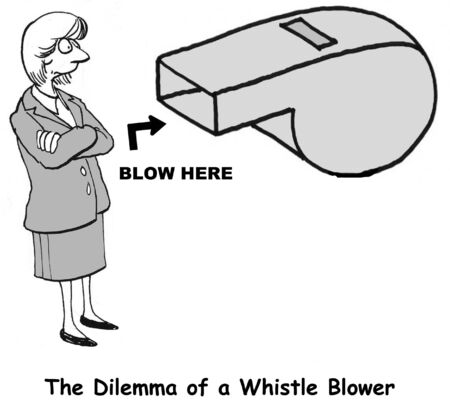 Cartoon of businesswoman, the dilemma of a whistle blower. Stock Photo