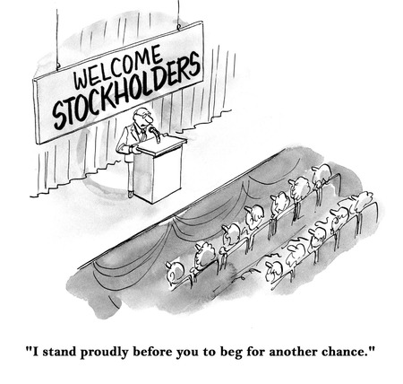 Cartoon of stockholders annual meeting, president is begging for another chance. Stock Photo