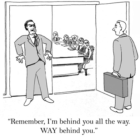 bad leadership: Cartoon of business leader and follower, he is WAY behind.