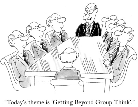 discourage: Cartoon of business meeting, everyone looks identical, today is \\\\\\\\