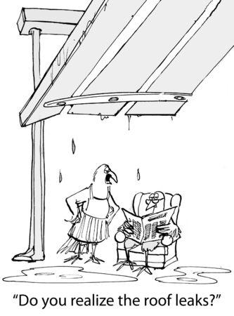 Cartoon van de vogel vrouw vragen man, heb je je realiseert dat het dak lekt.