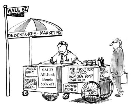 Cartoon of stock broker marketing his services on Wall Street.