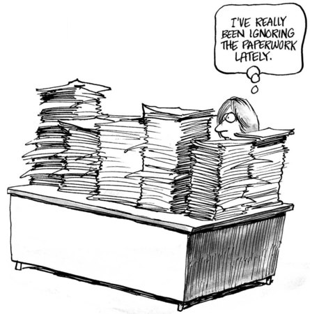 Cartoon of stacks and stacks of paperwork, businesswoman has been ignoring it.
