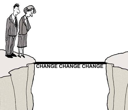 cliff: Cartoon of business people addressing the difficulty of change.