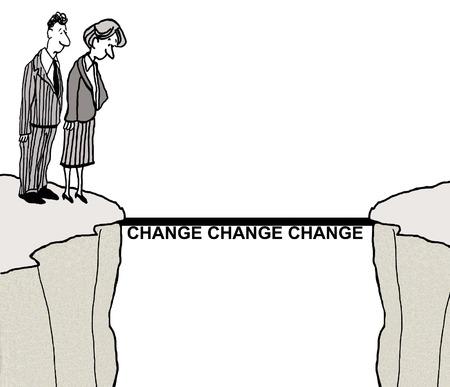 Cartoon van mensen uit het bedrijfsleven aanpakken van het probleem van de verandering. Stockfoto