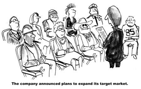 expanding: Cartoon of company expanding its target market to include everyone in society.